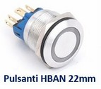 HBGQ22-11EY12  Pulsante  acciaio inox  22mm Yellow Led Ring